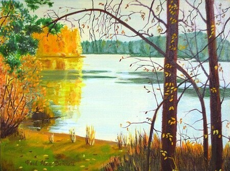 Aspen Break, Elk Lake. 16x20 inches, acrylic on canvas